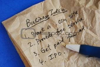 creative business ideas on a tissue isolated on blue