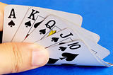 Royal flush from the poker cards concepts of winning