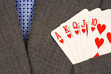 Royal flush from the poker cards concepts of winning in the business