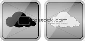 Pair of cloud computing glossy icons with white and black clouds