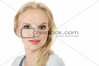 Young blonde woman face