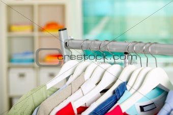 Clothes on hangers