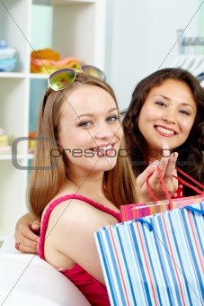 Smiling shoppers