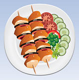 vector grilled chicken and vegetables