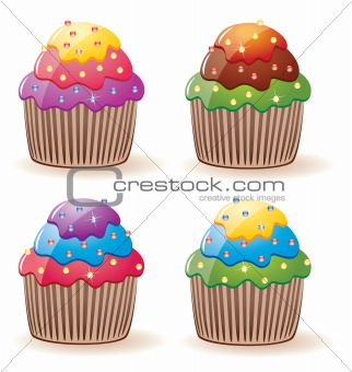 vector colorful cupcakes with sprinkles