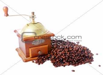 Old coffee grinder isolated on white