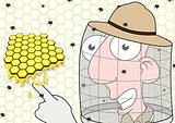Beekeeper pointing