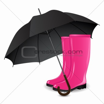 A pair of rain boots and an umbrella