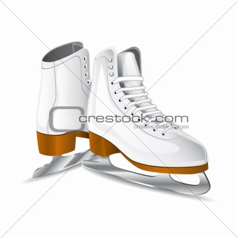 Vector white figure skates