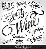 beverages headlines set (vector)