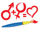 female male heart symbols and paintbrush