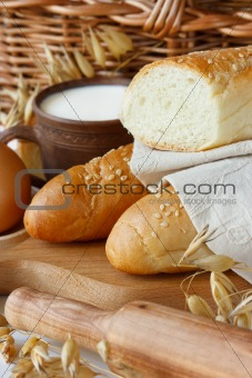 Bread and milk.
