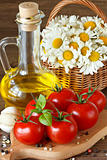 Tomatoes and olive oil.