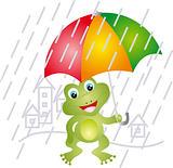 Frog under umbrella