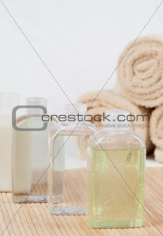 Close up of massage oils and towels