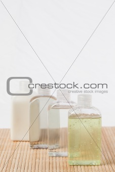 Four massage oil bottles