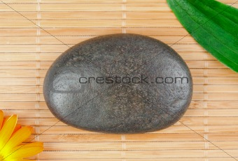 A round smouth pebble surrounded by a leaf and a sunflover