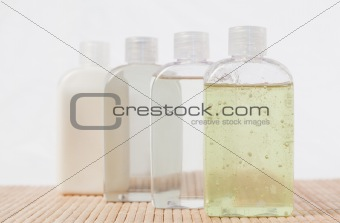 Close up of massage oil bottles