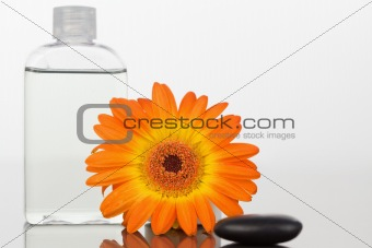 A black pebble with an orange gerbera and a glass flask