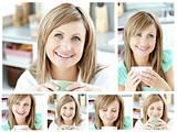 Collage of a young woman drinking a cup of coffeein the living r