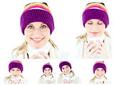 Collage of a young woman with winter hat drinking something hot
