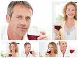 Collage of a man and a woman holding a glass of red wine in the