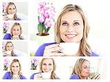 Collage of a young blonde woman drinking a cup of coffee