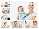 Collage of a blonde woman holding a baby in the living room