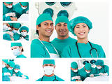 Collage of surgeons during a surgery