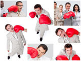 Collage of business people boxing