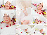 Collage of a woman having a bath