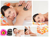Collage of a woman havin a stone massage in a spa
