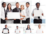 Collage of business people holding signs