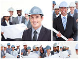 Collage of construction people