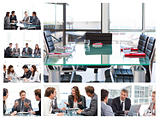 Collage of business meetings