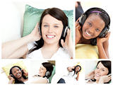 Collage of young women listening to music