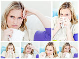 Collage of a young sick woman 