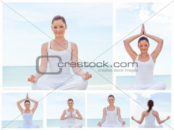 Collage of a young woman practicing yoga