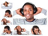 Collage of a young man listining to music