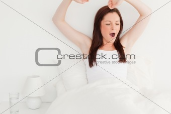 Attractive red-haired female stretching in her bed