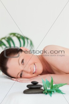 Close up of a happy young woman in a spa