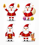 cartoon santa claus icon set