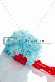 Blue chrysanthemums with two red hearts