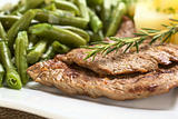 Beef Meat with Rosemary and Green Beans