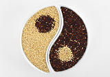 Yin and Yang Symbol Made of Red and White Quinoa