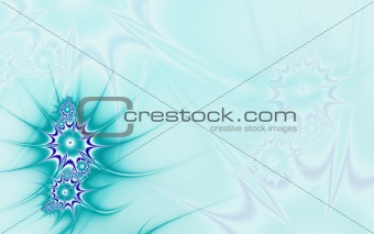 Blue background with sea flowers