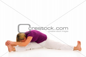 woman practicing stretking
