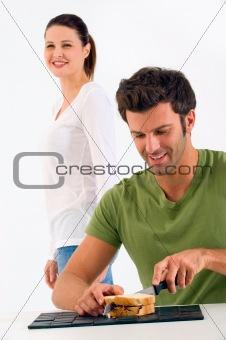 Couple  preparing a sandwich
