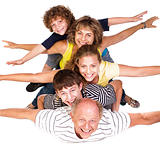 Cheerful family having fun in the studio