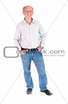 Aged grandpa posing in casuals